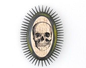 Day of the Dead Skull No:6 Wall ART Sculpture - Mixed Media Vintage Skull Assemblage - Skull Decoration