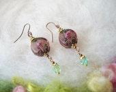 Purple Earrings Lamp Work Beads Dainty Beaded Earrings Handmade Beaded Earrings