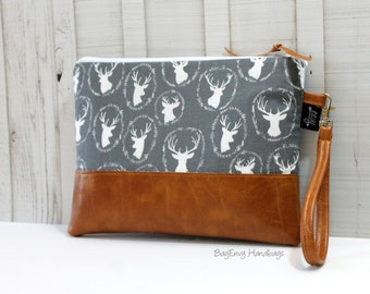 READY TO SHIP - Grab N Go Wristlet Clutch - Grey Deer Silhouettes with Vegan Leather
