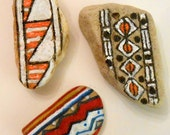 Beach Stones with Iroquois Inspired Designs Pottery