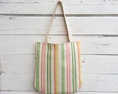 Stripe Tote Bag, Reversible Tote Bag, Pink Stripe Canvas Tote Bag, Purse, Handbag, Polka Dot Tote Bag, Book Bag, Summer Tote Bag