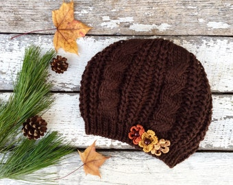 Knit Beret, Chocolate Brown Beret, Brown Hat with Flowers, Knit Hat, Brown Knit Hat with Flowers, Winter Hat, Tam, Knitted Beret, Women