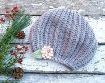 Knit Beret, Grey Beret, Grey Hat with Pink Flower Pin, Knit Hat, Grey Knit Hat with Flower, Winter Hat, Tam, Knitted Beret, Women Hat