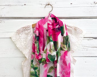 Floral Scarf, Pink Floral Scarf, Large Flowers Scarf, Sheer Scarf, Summer Scarf, Long Scarf, Spring Scarf, Wrap, Shawl, Gift for Her