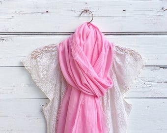 Pink Cotton Scarf, Cotton Gauze Scarf, Summer Scarf, Lightweight Scarf, Cotton Summer Scarf, Gift Idea, Jannysgirl