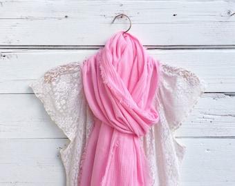Pink Cotton Scarf, Cotton Gauze Scarf, Summer Scarf, Lightweight Scarf, Cotton Summer Scarf, Gift Idea