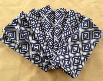 8 Handmade Premium Navy and White Geometric Print Napkins