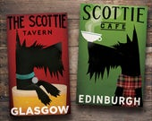 SCOTTISH TERRIER Scottie Dog Free Custom Beer Brewing or Coffee Co. ILLUSTRATION Giclee Print or Ready-to-Hang Canvas signed