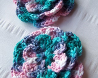 Crocheted flowers set of 2 appliques 3 inch embellishment sew on in spring ombre multi