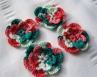 Crochet motif set of 4 flowers 1.5 inch Tropical Fruit embellishment crochet flower