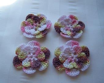 Appliques hand crocheted flowers set of 4 Bon-Bon cotton 1.5 inch