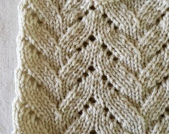 Hand Knit Cowl, Beautiful Lacey Design, Lovely Ivory, Highland Wool Yarn