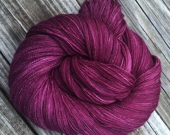hand dyed lace weight yarn cashmere blend yarn Song of the Sirens 875 yards baby alpaca silk cashmere blush magenta cranberry berry purple