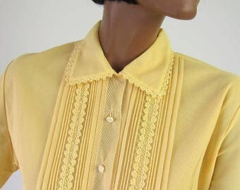 50s 60s Vintage Yellow Nylon Blouse Top Pin Tucking Small to Medium