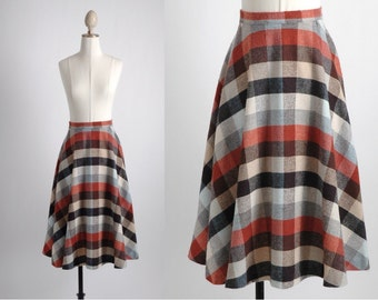 1970s earth tone check skirt * TP066