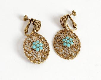 1950s vintage Victorian-inspired dangle earrings * faux turquoise + brass * look Goldette * 1960s AC108