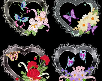 HEARTS A FLUTTER (6inch) - 12 Machine Embroidery Designs Instant Download 6X10 hoop (AzEB)