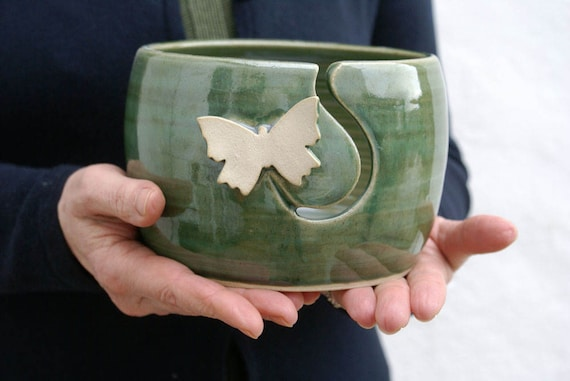 Made to Order - The butterfly yarn bowl, hand thrown custom pottery yarn bowl