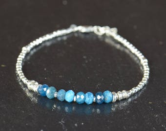 Apatite and sterling silver beads bracelet