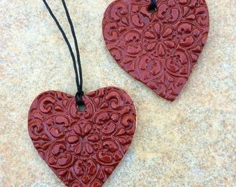 Valentine Gift Tag Heart Pendent Stoneware Ceramic FREE SHIPPING