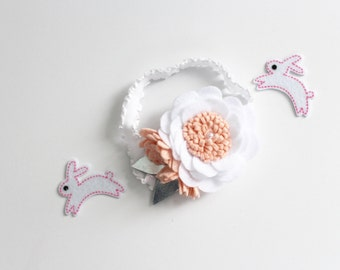 Felt Flower Easter Headband READY TO SHIP . Baby Flower Headband . Toddler Flower Headband . Baby Hair Clip . Felt Easter Headband