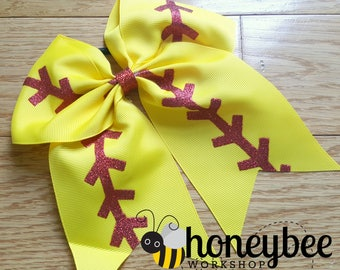 adorable softball girl team spirit bow - team mom, sister, friend - team spirit gift idea - glitter boutique baseball bow with tails