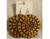 Spiral Bold Circular Wood Stained and Burned Forward Fashion Earrings –  mPER34