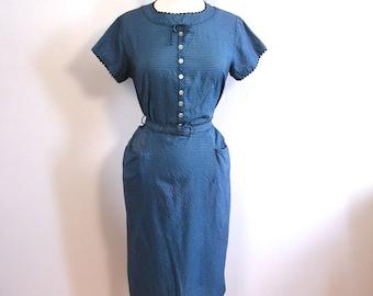 Vintage 50s Blue Gingham Wiggle Dress - 1950s Pencil Rockabilly Dress Med