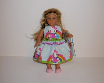 Handmade clothes. Cute Hello Kitty print dress for Mini American girl doll 6 1/2 inch