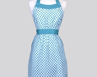 Classic Retro Apron / Riley Blake Wonderland Teal Bias Gingham Vintage Style Chef with Built in Side Pockets and Fitted Bodice