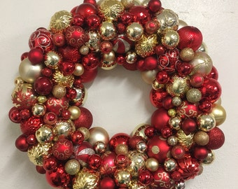Red and Gold Christmas Holiday Ornament Wreath - Christmas in July SALE!!  Marked down!