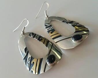 Vintage Tom Singer Sterling Silver and 12kt Gold Filled Earrings
