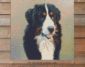 Bernese mountain dog Crochet Chart - Dog Crochet Pattern - Photo Blanket - Corner to Corner - C2C - Written Line Counts - Cross Stitch