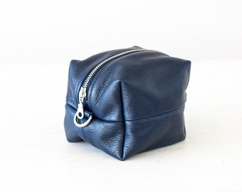 SALE Blue accessory bag, makeup bag vanity storage case cosmetic case utility bag diaper zipper pouch cosmetic  - Cube