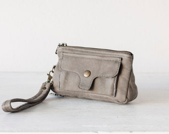 Wristlet wallet phone case in grey chamois leather, womens wallet with strap clutch wallet phone - Thalia Wallet