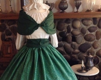 Civil War Pioneer Colonial Victorian Reenactment Green Floral Skirt Blouse and Sash