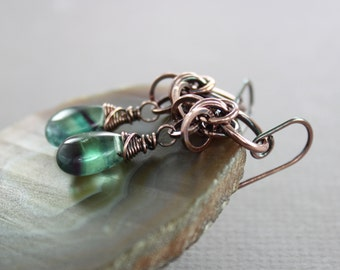 Luxurious chainmaille copper earrings with smooth rainbow colors fluorite briolette stones - Dangle earrings - Drop earrings - ER039