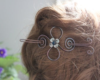 Celtic knot with swirls and silver flower hair pin - Hair pin - Hair barrette - Hair slide - Hair accessory - Flower hair pin - HP021