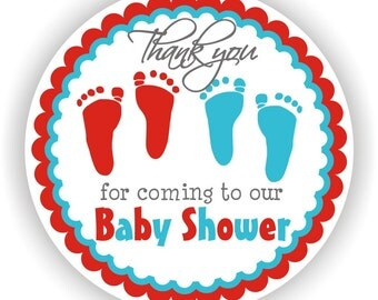 Twins Baby Shower - Thank You 2inch circle Stickers - Baby Shower Labels - Envelope Seal - Address Labels - Personalized Labels
