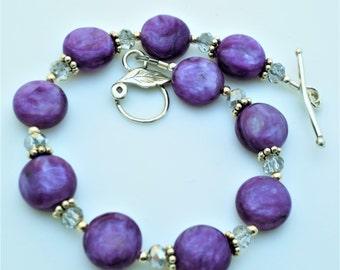 Charoite Purple Gemstone Sterling Bracelet EE Designs