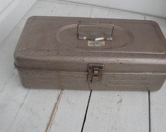Vintage Metal Tool Box Brown Industrial Rusty