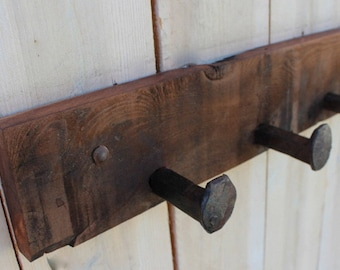"72"" 12 Spikes - Coat Rack - Original - Rustic Home Decor - Cabin Decor - Railroad Spikes - Wall Hooks"