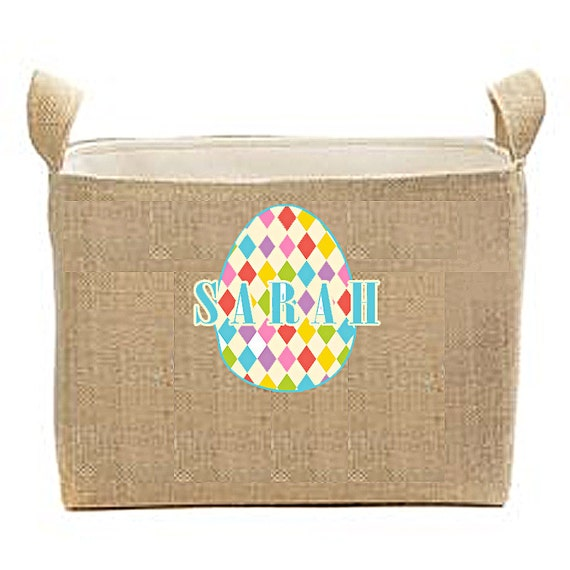 Easter Basket, Large Easter Baskets, Monogrammed Easter Buckets, Large Burlap Buckets, Bunny Baskets, Egg Baskets, Children's Easter Bags