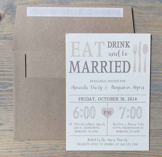 Pre Wedding Party Rehearsal Dinner Invitation, Eat, Drink & Be Married, Wedding Rehearsal, Rustic Dinner Invitation, Rehearsal Invites
