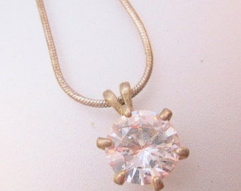 SALE Ends 1/17 Vintage 4ct Cubic Zirconia CZ Solitaire Pendant Necklace Silver Plated Jewelry Jewellery