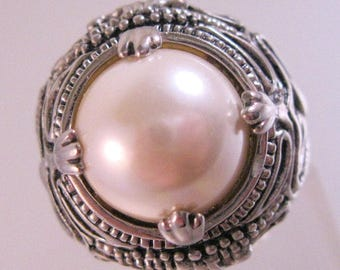 Premier Designs Faux Pearl Big Chunky Ring Size 8 Statement Ring Vintage Jewelry Jewellery