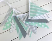 Bunting Fabric Banner,Fabric Flags,Nursery Decor,Birthday Decoration,Baby Shower,Home Decor,Mint Green,Grey,Gray,Chevron,Stripe,Nursery