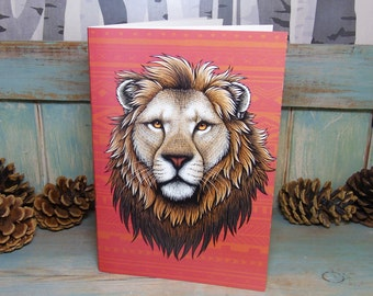 A5 Lion Illustration Journal ~ Notebook with 48 Lined Pages