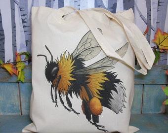 Bumblebee Illustration Eco Tote Bag ~ 100% Cotton Long Handles
