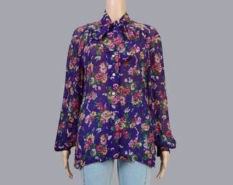 Vintage 80s Purple Rayon Gauze Sheer Blouse | Boho Floral Shirt | Pussy Bow Neck Tie Ascot Long Sleeve Top | Secretary Blouse | size M L